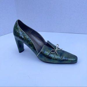 Bellini Connie crocodile heels bow square toe 9